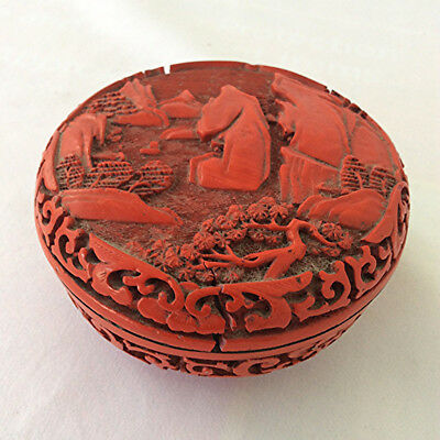 Antique Chinese Cinnabar lacquer circular box old vintage