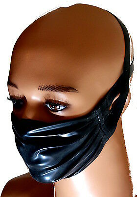 Rubber latex clothing medical style black face mask gummi fetish play fantasy