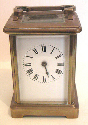 French Brass Case Timepiece White Enamel Dial Carriage Clock , c1900 GWO
