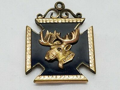 Antique Loyal Order of the Moose Gold Filled Onyx Lodge Pendant Fob Charm Medal