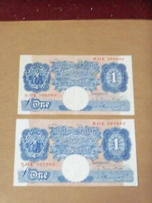 Great Britain One Pound Notes (2), 1934 - 1939 Wartime Bank of England Notes