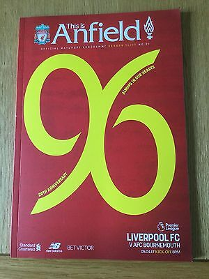 Official Liverpool FC Match Day Program LFC V AFC Bournemouth, 28th Anniversary