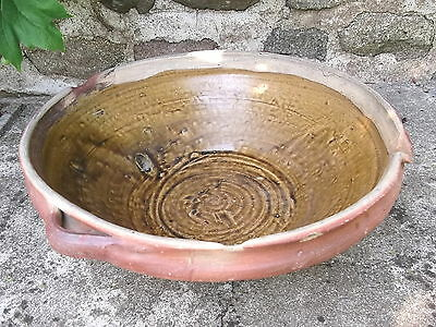 Old  HUGE   FRENCH  POTTERY TIAN CREAM BUTTER BOWL Provencal DOUGH mixing BOWL