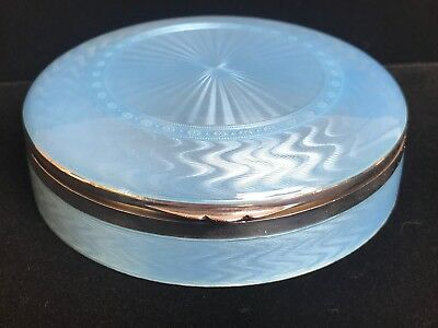 Stunning Large Blue Luminescent Guilloche Sterling Silver Enamel Table Top Box