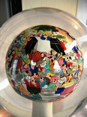Antique reverse painted glass ball---Huge. Stamped. Signed by Artist-estate sale