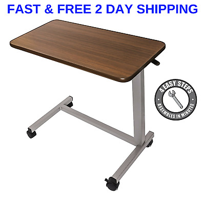 Medical Adjustable Overbed Bedside Table With Wheels For hospital And Home Use