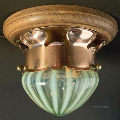WAS BENSON Art Nouveau Copper Ceiling Light with Powell Vaseline Glass Shade
