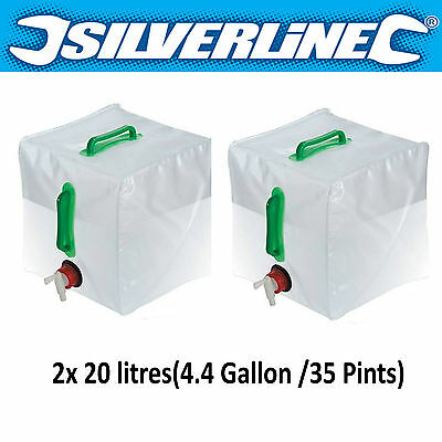 2x 20L New Water Carrier Container Foldable Collapsible With Tap Camping Bottle