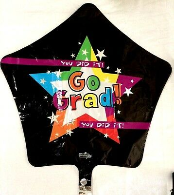 "GO GRAD 18"" Star YOU DID IT Mylar Balloon Graduation Congrats Party Decor"