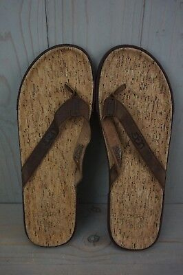 b34eacd1854 UGG BENNISON II Cork Luggage Brown Leather Flip Flops Sandals Mens Us 14 New
