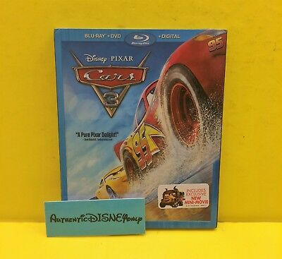 CARS 3 BLU-RAY + DVD + DIGITAL *AUTHENTIC DISNEY w/ SLIP COVER & MOVIE REWARDS