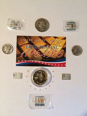 Mixed Lot of  US silver coins Gold/Silver Bars and nuggets,From Italy and Alaska