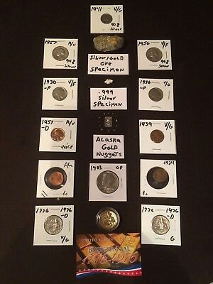 Mixed Lot of  US silver coins Gold/Silver Ore and nuggets from Alaska and US.