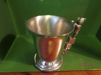 """~*english Pewter*~England~Childs Cup~Abc~123~Handle~Bear~Approx 3""""  X 3""""~"""