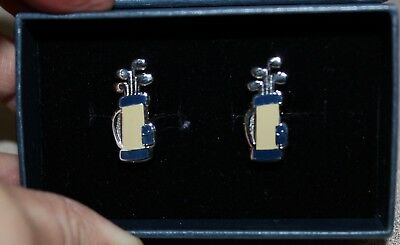 New Brooks Brothers Stainless Golf Clubs and Bags Cuff Links