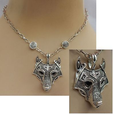 Wolf Pendant Necklace Jewelry Handmade NEW Chain Fashion Silver Celtic Accessory