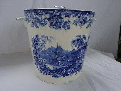 Antique Ironstone Blue Transfer Tall Chamber Pot With Lid England