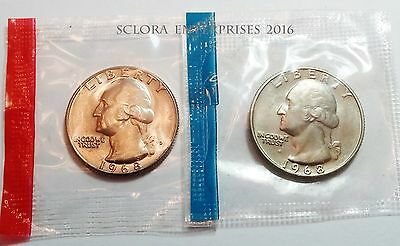 1968 P & D Washington Quarter Coin Set (2 Coins) *MINT CELLO*  **FREE SHIPPING**