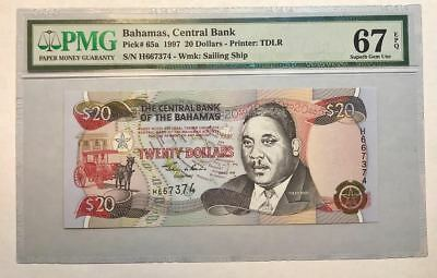 RARE **FINEST KNOWN** P 65a 1997 Bahamas $20 Dollars Central Bank PMG 67 EPQ