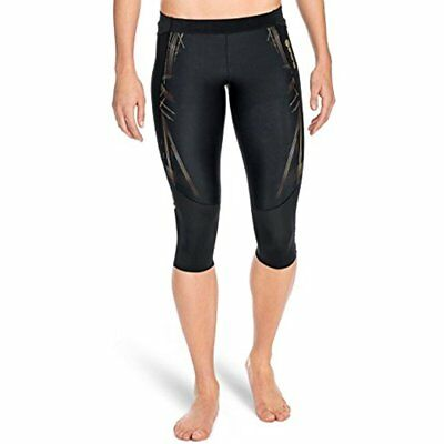 SKINS Women's Sports & Fitness Features A400 Compression 3/4 Tights, Black/Gold,