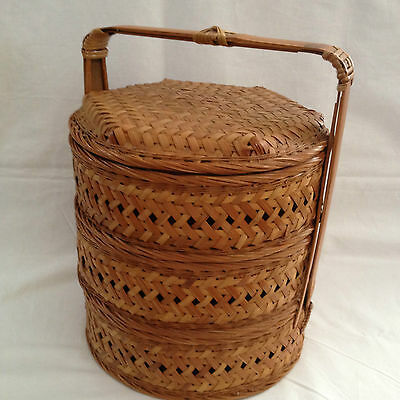 Vintage Bamboo Hand Woven 2 Tiers Wedding/Food/Jewelry Basket