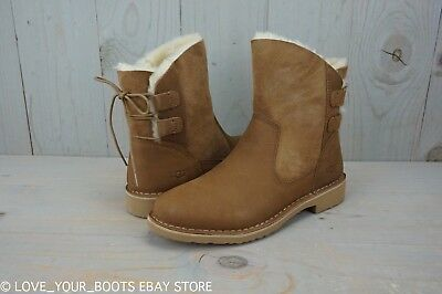 ddb04450ff9 UGG NAIYAH CHESTNUT 1016850 Leather Corset Back Ankle Boots Womens Us 9.5  Nib