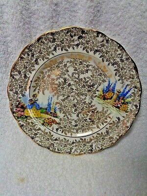 Colclough Lady In Garden Gold-Colored Filagree Overlay  Plate