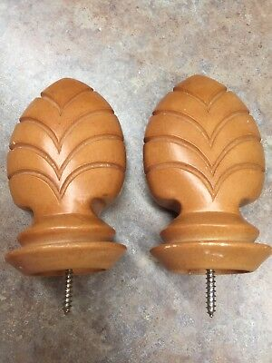 """Set Of Two Large Finials Resin Ceramic 5-1/4"""" W/Screw Furniture Curtain Rod"""