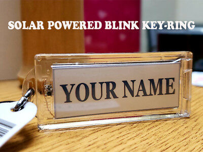 """Acrylic Blinking Solar Powered Custom Name Key Chain 2.6"""" Long, WITH YOUR NAME."""