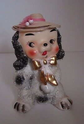 "Vtg 1950's Coralene Sugar Glass Ceramic Puppy Dog w/ Hat 5"" Figurine Japan"