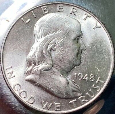 1948-P FRANKLIN Silver Half BU Choice 300