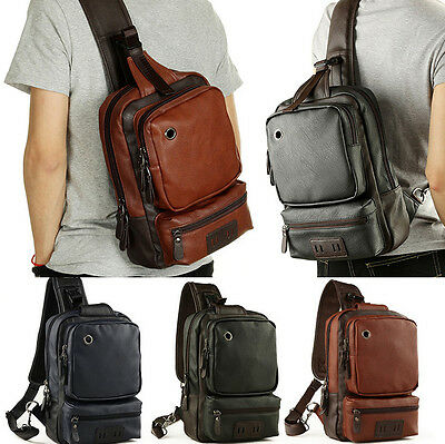 Mens Leather Shoulder Bag Chest Cycle Front Sling Jpg