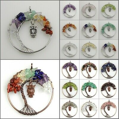 Natural Amethyst Turquoise Chakra Tree of Life Beads Owl Pendant For Necklace