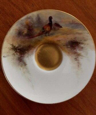 Royal Worcester - Hand Painted Pheasant Saucer, signed