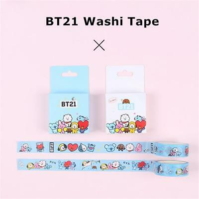 NEW BTS BT21 Washi Tape Cooky Tata Paper Masking Scrapbook Sticker Love Yourself
