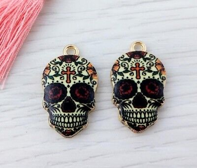 Sugar Skull Enamel Charms 2pcs - Gold Plated Red Halloween Pendant  CH476