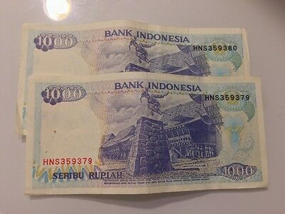Lot Of Indonesia Rupiahs, 8 Banknotes,2 1000 Bills With Consecutive Numbers,1992