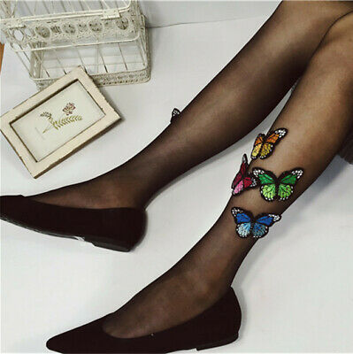 Lolita Girls Thin Tights Stockings Sexy Women Butterfly Pattern Silk Pantyhose