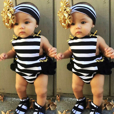 US Stock Newborn Baby Girls Striped Ruffle Romper Jumpsuit Sunsuit Outfits Set