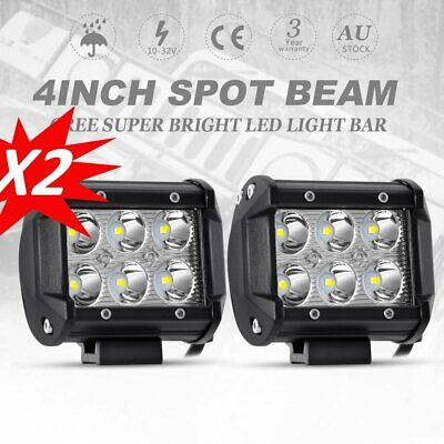 2x 4inch CREE LED Work Driving Light Bar SPOT Beam Offroad 4WD Reverse SUV 4x4