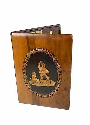 Antique Inlaid Olive Wood Correspondence or Documents Cover, Sorrento, Italy.