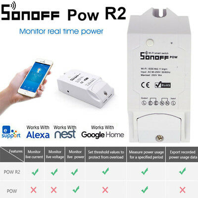 Sonoff Pow R2 Smart Wifi Remote Switch Timer Control Power Consumption DR Tray H