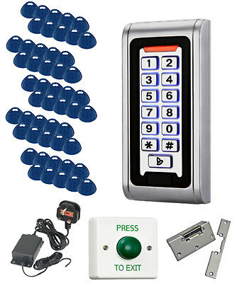 Weatherproof Proximity Code Access Control Kit with 50 Fobs PSU and Lock Release