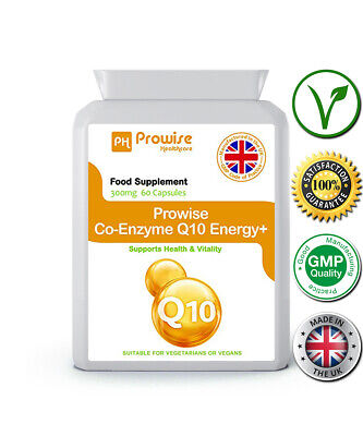 Co-Enzyme Q10 Energy+ 60 Cap 300mg Supports Health & Vitality UK Made - Prowise