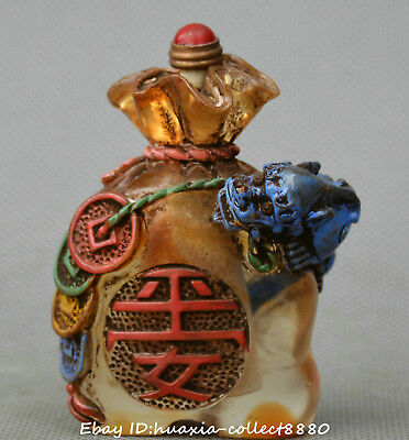 China old coloured glaze hand carve beast money bag lucky snuff bottle snuff box