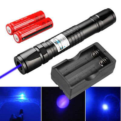 50Miles 405nm Blue Purple Laser Pointer Pen Visible Beam+18650+Dual Charger USA