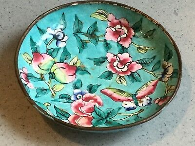 Antique Chinese Hand Emameled peaches & Butterfly Dish