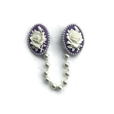Purple and White Rose Sweater Clip - Lavender with White Pearls - Retro, Vintage