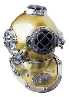 Antique Vintage Diving Divers Helmet Solid Steel US Navy Mark V Full Size Gift