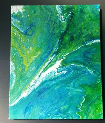 Original Painting Abstract Ocean Swirl Acrylic on Canvas Fluid Art Flow16x20 OBX